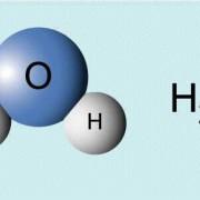 einfaches räumliches Modell und Formel des Wassermoleküls