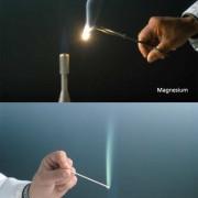 Unterschiedliche Flammenfärbung bei der Verbrennung von Magnesium und Barium