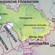 Lage Kasachstans in Mittelasien