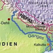 Der Verlauf des Ganges durch Indien