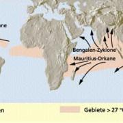Geografische Verteilung und Zugbahnen tropischer Wirbelstürme