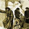 AUGUST VON HEYDENS Stahlstich zeigt den Buße leistenden HEINRICH in Canossa.