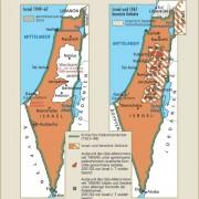 Der Teilungsplan der UNO und die tatsächlich bestehenden Autonomiegebiete der Palästinenser
