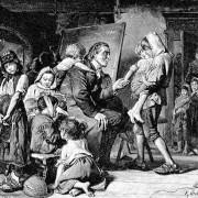 JOHANN HEINRICH PESTALOZZI (1746–1827) im Kreise seiner Zöglinge in Stans