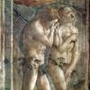MASACCIO (1401–1429): Freskenzyklus der Brancacci-Kapelle in Santa Maria del Carmine in Florenz (1426–1428), Szenen aus dem Leben Petri, Szene: Vertreibung aus dem Paradies.