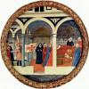 MASACCIO (1401–1429): Besuch in der Wochenstube, Tondo, um 1425–1428, Holz, Durchmesser 56 cm, Berlin, Gemäldegalerie.