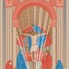 MASACCIO (1401–1429) Dreifaltigkeitsfresko verbindet durch den Stufenaufbau und die Anwendung einer diesen gesamten Aufbau umfassenden Zentralperspektive den Bildraum mit dem realen Raum des Betrachters in illusionistischer Weise.