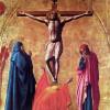 MASACCIO (1401–1429): Polyptychon für Santa Maria del Carmine in Pisa, Bekrönung: Kreuzigung Christi, 1426, Holz,77 × 64 cm, Neapel, Galleria Nazionale di Capodimonte.