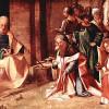 GIORGIONE (eigentl. GIORGIO [ZORZO] DA CASTELFRANCO, 1478–1510): Anbetung der Drei Heiligen Könige, 1500–1510, Holz, 29 x 81 cm, London, National Gallery.