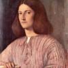 GIORGIONE (eigentl. GIORGIO [ZORZO] DA CASTELFRANCO, 1478–1510): Porträt eines jungen Mannes, um 1505, Leinwand, 58 x 46 cm, Berlin, Gemäldegalerie.