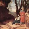 GIORGIONE (eigentl. GIORGIO [ZORZO] DA CASTELFRANCO, 1478–1510): Die drei Philosophen, um 1507–1508, Leinwand, 123,5 x 144,5 cm, Wien, Kunsthistorisches Museum.