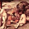 GIORGIONE (eigentl. GIORGIO [ZORZO] DA CASTELFRANCO, 1478–1510): Ländliches Konzert, 1500–1510,Leinwand, 110 x 138 cm, Paris, Musée du Louvre.Kommentar: Die Zuschreibung des Gemäldes an GIORGIONE oder TIZIAN ist unentschieden.