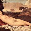 GIORGIONE (eigentl. GIORGIO [ZORZO] DA CASTELFRANCO, 1478–1510): Schlummernde Venus, um 1508–1510, Leinwand, 108 x 175 cm, Dresden, Gemäldegalerie.Kommentar: Auf dem Gemälde befand sich ursprünglich ein von TIZIAN gemalter Cupido, der im 18. Jahrhundert ü