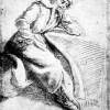 "CRISTOFANO ALLORI: ""Michelangelo in meditazione"" (Schwarze und weiße Kreide, auf bräunlichem Papier,395 x 268 mm), um 1620–1621, Florenz, Galleria degli Uffizi, Cabinetto Disegni e Stampe."