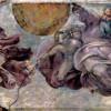 """MICHELANGELO BUONAROTTI: Deckenfresko zur Schöpfungsgeschichte in der Sixtinischen Kapelle,Hauptszene: """"Der Schöpfergott scheidet Licht und Finsternis (Sonne und Mond)"""",(1508–1512, Fresko; Rom, Vatikan, Sixtinische Kapelle)."""
