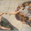 """MICHELANGELO BUONAROTTI: Deckenfresko zur Schöpfungsgeschichte in der Sixtinischen Kapelle,Hauptszene: """"Der Schöpfergott erschafft Adam"""" (1508–1512, Fresko; Rom, Vatikan, Sixtinische Kapelle)."""