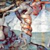 """MICHELANGELO BUONAROTTI: Deckenfresko zur Schöpfungsgeschichte in der Sixtinischen Kapelle, Hauptszene:""""Ursünde und Vertreibung aus dem Paradies"""" (1508–1512, Fresko; Rom, Vatikan, Sixtinische Kapelle)."""