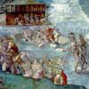 """MICHELANGELO BUONAROTTI: Deckenfresko zur Schöpfungsgeschichte in der Sixtinischen Kapelle,Hauptszene: """"Die Sintflut"""" (1508–1512, Fresko; Rom, Vatikan, Sixtinische Kapelle)."""