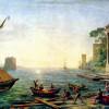 """CLAUDE LORRAIN: """"Seehafen beim Aufgang der Sonne"""";2.Drittel 17.Jh., Öl auf Leinwand, 72 × 97cm;München, Alte Pinakothek."""