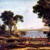 """CLAUDE LORRAIN: """"Landschaft mit der Vermählung von Isaak und Rebekka"""";1648, Öl auf Leinwand, 151 × 205cm;London, National Gallery."""