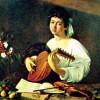 """MICHELANGELO CARAVAGGIO: """"Der Lautenspieler"""";um 1595, Öl auf Leinwand, 94 × 119cm;St.Petersburg, Eremitage."""