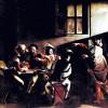 "MICHELANGELO CARAVAGGIO: Gemälde der Contarelli-Kapelle in San Luigi di Francesi in Rom,Szene: ""Berufung des Hl.Matthäus"";1599–1600, Öl auf Leinwand, 322 × 340cm;Rom, San Luigi dei Francesi."