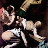 "MICHELANGELO CARAVAGGIO: Gemälde der Cerasi-Kapelle in Santa Maria del Popolo in Rom,Szene: ""Kreuzigung Petri"";1600–1601, Öl auf Leinwand, 230 × 175cm;Rom, Santa Maria del Popolo."