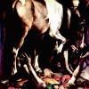 "MICHELANGELO CARAVAGGIO: Gemälde der Cerasi-Kapelle in Santa Maria del Popolo in Rom,Szene: ""Bekehrung Sauli"";1600–1601, Öl auf Leinwand, 230 × 175cm;Rom, Santa Maria del Popolo."
