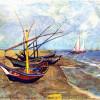 """VINCENT WILLEM VAN GOGH: """"Fischerboote am Strand von Saintes-Maries"""";1888, Öl auf Leinwand, 64,5 × 81 cm;Amsterdam, Van Gogh Museum."""