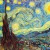 "VINCENT WILLEM VAN GOGH: ""Sternennacht"";1889, Öl auf Leinwand, 73,7 × 92 cm;New York, Museum of Modern Art."