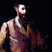 "EDOUARD MANET: ""Selbstporträt mit Palette"";1879, Öl auf Leinwand, 83 × 67 cm;New York, Sammlung Loeb."