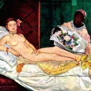 "ÉDOUARD MANET: ""Olympia"";1863, Öl auf Leinwand, 130,5 × 190 cm;Paris, Musée d'Orsay."