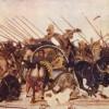 Das großartige Fußbodenmosaik wurde im Haus des Fauns in Pompeji gefunden. Vorlage war wahrscheinlich ein griechisches Gemälde.Dargestellt ist der entscheidende Augenblick in der Schlacht ALEXANDERs DES GROSSEN mit dem letzten Achämenidenkönig DAREIOS III
