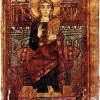 """Godescalc-Evangeliar: Szene: """"Christus"""";781–783, Paris, Bibliothèque Nationale.Gold- und Silberbuchstaben wurden auf Purpurpergament geschrieben: Purpur und Gold galten in frühmittelalterlicher Zeit als Farben des Überirdischen, Himmlischen."""