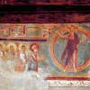 """Meister von Negrentino: Freskenzyklus, ehemalige Pfarrkirche von Prugiasco in Val Blenio,Szene: """"Christus und die Apostel"""";1050-1100, Fresko;Negrentino (Schweiz), San Carlo."""