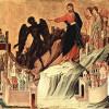 DUCCIO: Maestà, Altarretabel des Sieneser Doms, Rückseite,Predella mit Szenen zur Versuchung Christi und Wundertaten,Szene: Versuchung Christi auf dem Berg, 1308-1311,Tempera auf Holz, 43 × 46 cm,New York, Frick Collection.