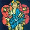 Oberrheinischer Meister um 1240: Thronender Christus, um 1240, Glasfenster,Freiburg im Breisgau, Augustinermuseum.