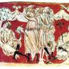 """Meister HESSE: """"Tristan und Isolde"""", GOTTFRIED VON STRASSBURG, Szene: Frühlingsfest bei König Marke,um 1240, Pergament, 23,5 × 16 cm, München, Bayerische Staatsbibliothek."""