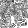 "ALBRECHT DÜRER:"" Hl. Hieronymus, dem Löwen den Dorn ausziehend"", 1492, Holzschnitt, 190 x 133 mm,"