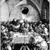 "ALBRECHT DÜRER: Folge der ""Großen Passion"", Szene: ""Das Letzte Abendmahl"", Holzschnitt, 390 x 280 mm"