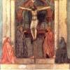 """MASACCIO: """"Heiligen Dreifaltigkeit (Trinität)"""";Fresko, Kirche Santa Maria Novella, Florenz, 1426–1427."""
