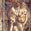 """MASACCIO: Freskenzyklus: Szenen aus dem Leben Petri,Szene: """"Vertreibung aus dem Paradies"""";1425–1428, Fresko;Florenz, Santa Maria del Carmine, Cappella Brancacci."""