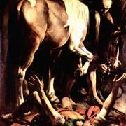 "MICHELANGELO CARAVAGGIO: Gemälde der Cerasi-Kapelle in Santa Maria del Popolo in Rom,Szene: ""Bekehrung Sauli"";1600–1601, Öl auf Leinwand, 230 × 175 cm;Rom, Santa Maria del Popolo."