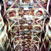 MICHELANGELO BUONAROTTI: Deckenfresko zur Schöpfungsgeschichte in der Sixtinischen Kapelle, Gesamtansicht;1508–1512, Fresko;Rom, Vatikan, Sixtinische Kapelle.