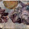 """MICHELANGELO BUONAROTTI: Deckenfresko zur Schöpfungsgeschichte in der Sixtinischen Kapelle,Hauptszene: """"Der Schöpfergott scheidet Licht und Finsternis (Sonne und Mond)"""";1508–1512, Fresko;Rom, Vatikan, Sixtinische Kapelle."""