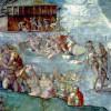 """MICHELANGELO BUONAROTTI: Deckenfresko zur Schöpfungsgeschichte in der Sixtinischen Kapelle,Hauptszene: """"Die Sintflut"""";1508–1512, Fresko;Rom, Vatikan, Sixtinische Kapelle."""