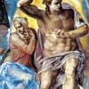 """MICHELANGELO BUONARROTI: """"Das Jüngste Gericht"""", Fresko an der Altarwand der Sixtinischen Kapelle,Detail: """"Christus mit Maria"""";1535–1541, Fresko;Rom, Vatikan, Sixtinische Kapelle."""