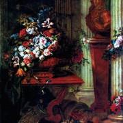 "JEAN-BAPTISTE BELIN D. Ä.: ""Vase mit Blumen und Bronzebüste Ludwigs XIV."";1686, Leinwand, 190 × 164 cm;Paris, Musée du Louvre."