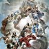 LUCA GIORDANO : Fresken in der Galerie des Palazzo Medici-Riccardi in Florenz, Szene: Triumph der Medici in den Wolken des Olymp, Palazzo Medici-Riccardi, Florenz.