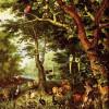 "JAN BRUEGEL DER ÄLTERE: ""Das Paradies"";um 1620, Öl, Eichenholz, 59 × 42 cm;Berlin, Gemäldegalerie."